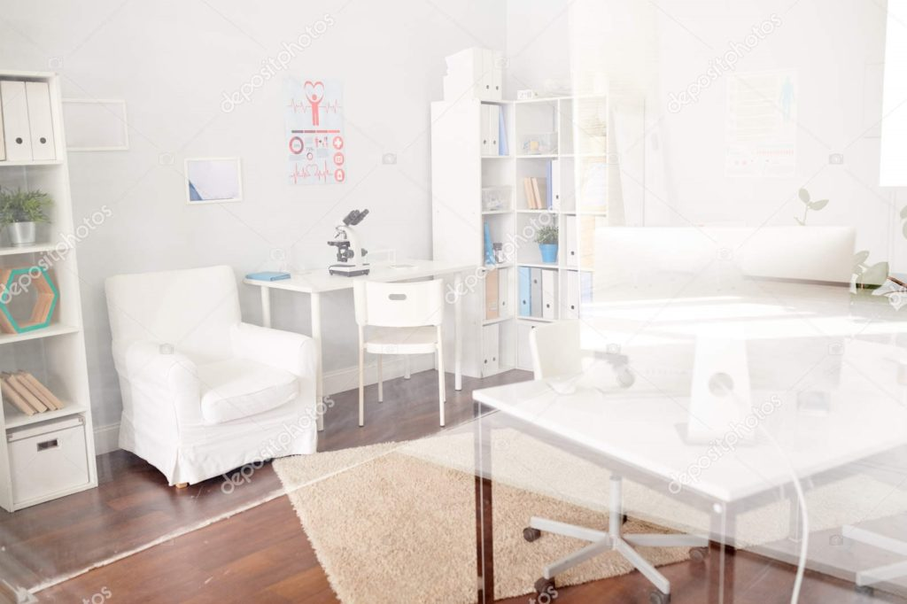 Background image of empty doctors office interior in modern private clinic, copy space